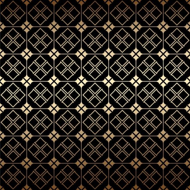 黄金と黒のアールデコの幾何学的なシームレスパターン