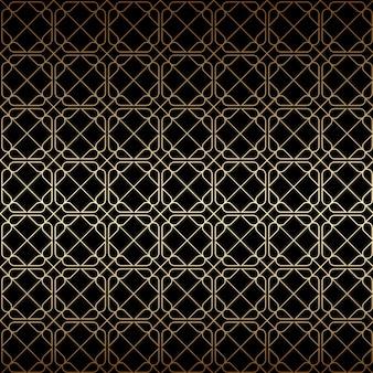 線形の黄金と黒のアールデコの幾何学的なシームレスパターン