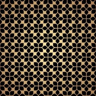 オリエンタルスタイルの花黄金の幾何学的なシームレスパターン