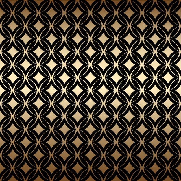 Золотой геометрический арт-деко простой бесшовный узор с круглой формы, черного и золотого цветов