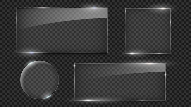 Стеклянные тарелки, различные стеклянные формы векторный набор, изолированные стеклянные рамки