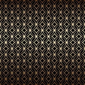 Линейный золотой арт-деко простой бесшовный узор с круглыми формами, черного и золотого цветов