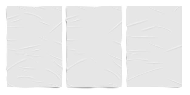 Белая плохо склеенная текстура бумаги, влажные морщинистые бумажные листы, реалистичный набор