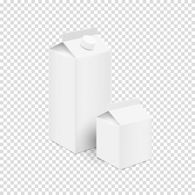 Белые чистые тетрапакетные коробки для сока и молока