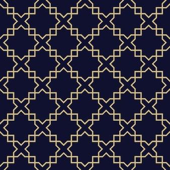 抽象的なアラビアのシームレスパターン、ダークブルーとゴールドのテクスチャ