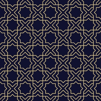 星と抽象的なアラビアのシームレスパターン