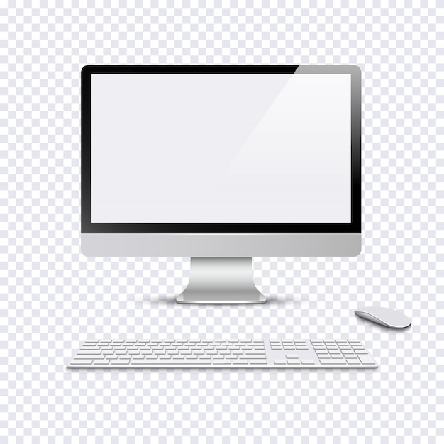 キーボードとコンピューターのマウスを透明な背景に近代的なモニター