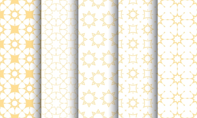 シームレスなイスラム模様セット、白と金色の質感