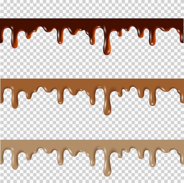 溶かしたチョコレート、ピーナッツバター、キャラメルのシームレスな境界線のセット