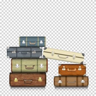 透明な背景にスーツケース