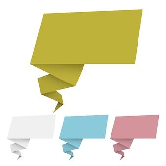 折り紙バナーとスピーチの泡のベクトルを設定
