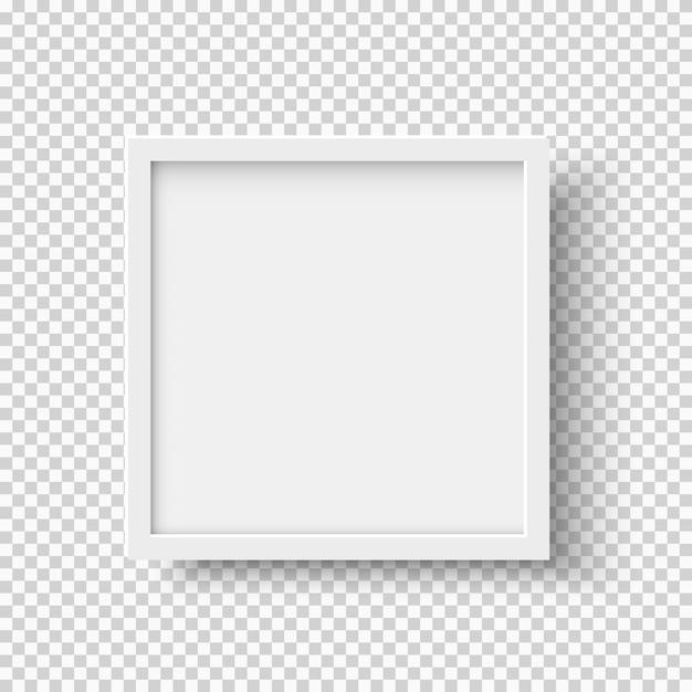 透明な背景に白の現実的な正方形の空の図枠