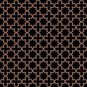 星とアラビア風のシームレスな暗いパターン