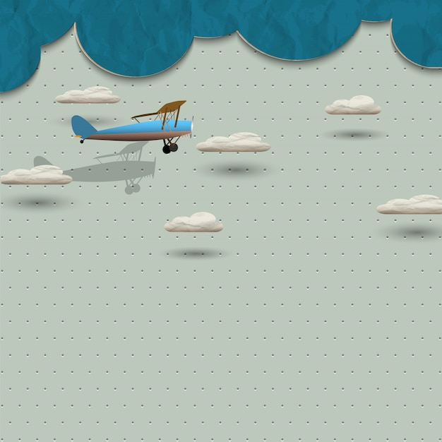 飛行機と紙からの雲
