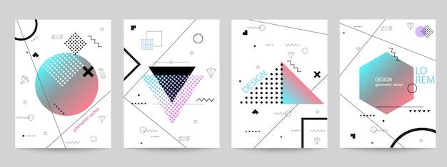 Набор мемфис фон набор дизайн с геометрическими формами