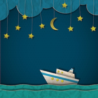 夜のペーパークルーズ客船