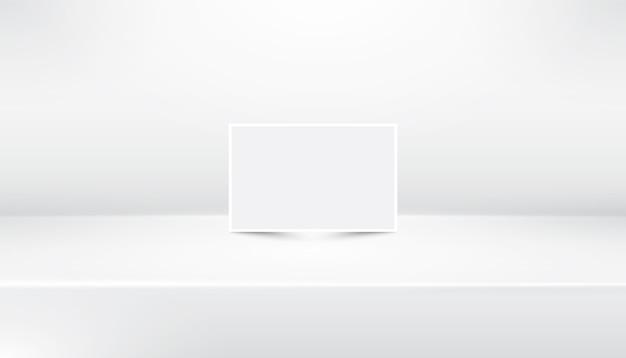 ホワイトペーパーと白い空の抽象的なショールームの背景