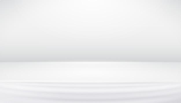 滑らかな線、影と白灰色のスタジオの抽象的な背景
