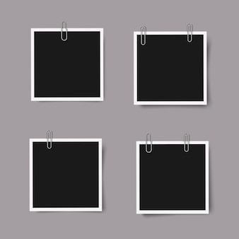 Набор реалистичных квадратных фоторамок с тенями