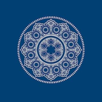民族の繊細な白い曼荼羅 - 丸い飾り模様