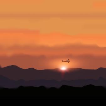 夕日と飛ぶ飛行機のある風景山