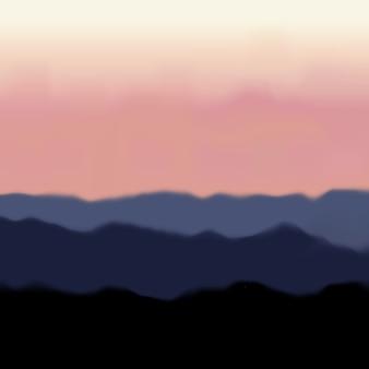 山と日の出のある風景