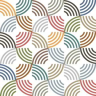 レトロな色の幾何学的な縞模様のシームレスパターン