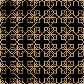 Геометрический темный бесшовный цветочный узор в восточном стиле