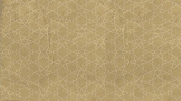 背景-イスラムの星、古い紙にアラビア語の飾りと東洋のパターン