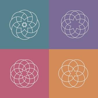 ロゴ、線形の抽象的なパターンのセット