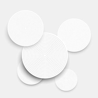 ホワイトペーパーの円と影と抽象的な背景