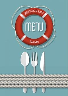 シーフードレストランのレトロなメニューデザイン