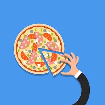 漫画のスタイルで手で平らなピザ