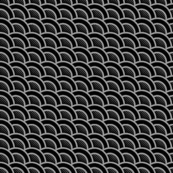 Геометрический полосатый черный бесшовный узор со стилизованными волнами