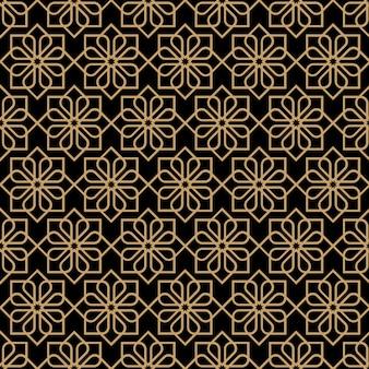 オリエンタルスタイルの抽象的な暗いシームレス花柄