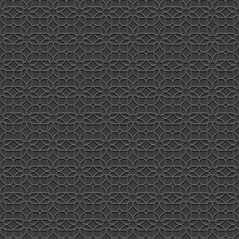 Черный бесшовный фон с цветами в восточном стиле