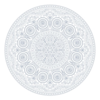 Синий узор мандалы в стиле бохо на белом