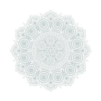 Нежный зеленый кружевной узор мандалы в стиле бохо