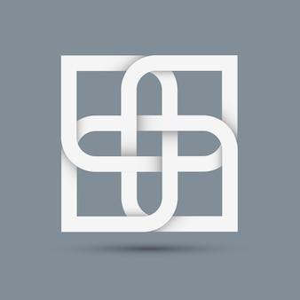 デザインの様式化された抽象的な白いアイコン