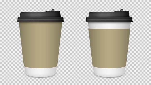コーヒーカップの分離、空白の紙コーヒーカップのモックアップ