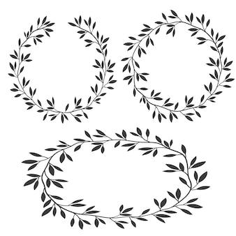 フレーム、シルエットビンテージ花のフレーム、月桂樹の花輪のセット