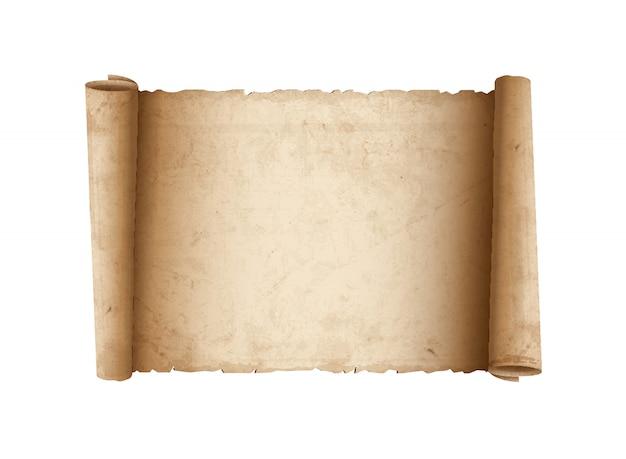 水平の古いスクロール紙
