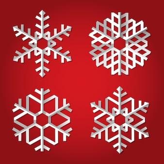 赤のクリスマス折り紙雪片