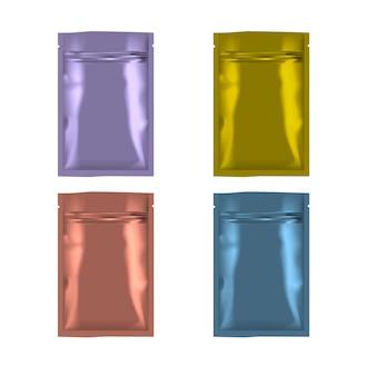 Цветной пустой пакет из фольги на молнии