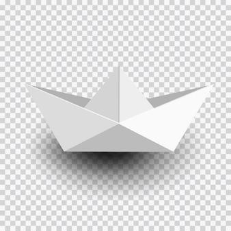 Оригами белый бумажный кораблик, лодка, изолированные на прозрачной