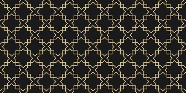 アラビアの幾何学的なシームレスパターン、黒と金のテクスチャ