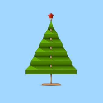 紙と木の棒から作られた創造的な緑のクリスマスツリー