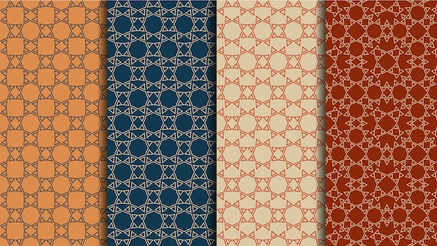 民族のシームレスなパターンベクトルセット、幾何学的な色の背景