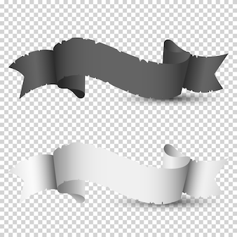 リボン、黒と白のビンテージ紙
