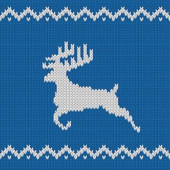 鹿とニットブルークリスマスシームレスパターン